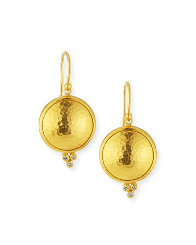24k Amulet Drop Earrings with Diamonds