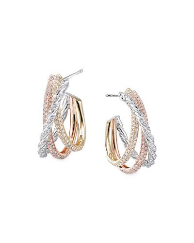 Pave Flex 18k Gold Tricolor Diamond Shrimp Earrings