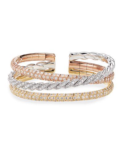 Pave Flex 18k Tricolor Diamond Bracelet, Size L