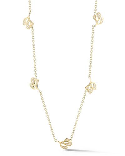 Sea Leaf 18k Gold Diamond Station Necklace