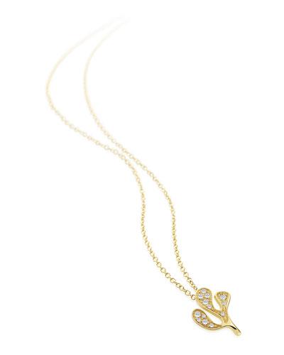 Sea Leaf 18k Little Diamond Necklace