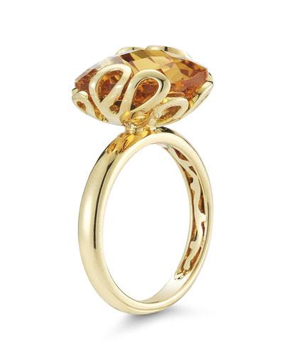 18k Gold Sea Leaf Citrine Ring