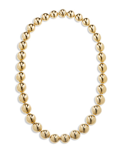 18k Gold Bead Necklace, 16