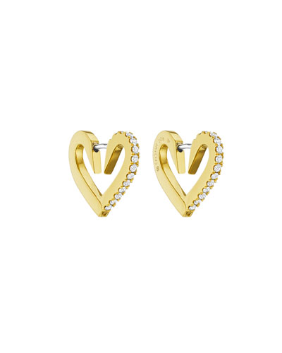18k Gold Small Diamond Heart Hoop Earrings