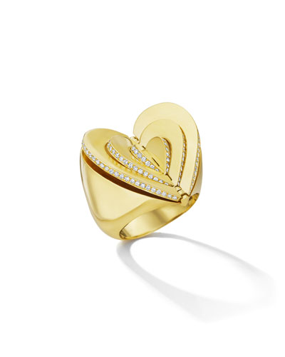 18k Gold Diamond Heart Ring  Size 7