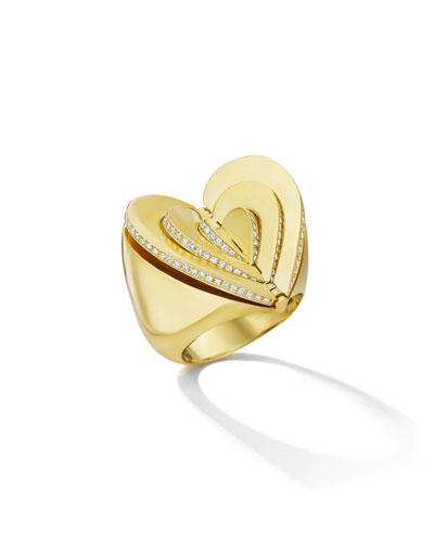 18k Gold Diamond Heart Ring, Size 7