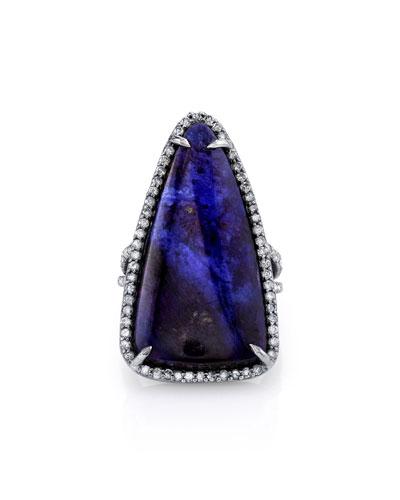 Triangular Sugilite Slice Ring, Size 7.5
