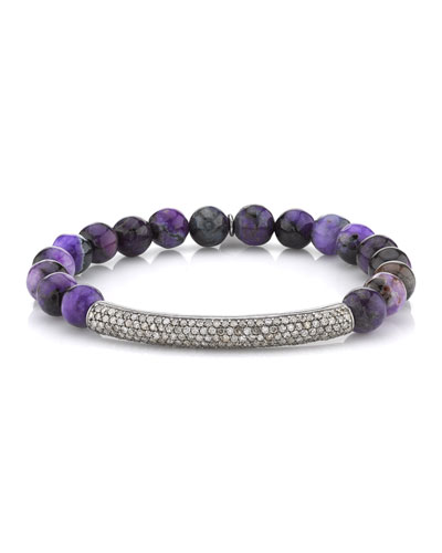 8mm Sugilite & Diamond Bar Bracelet