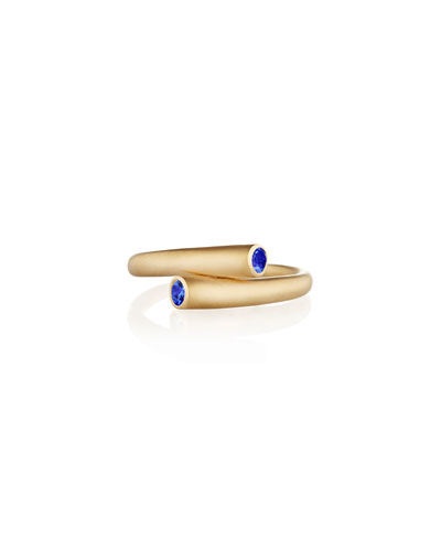 Whirl 18k Gold Ring with Blue Sapphires