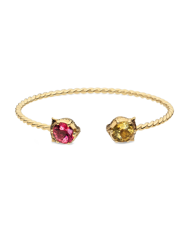 5c703738c0e Gucci18k Gold Le Marche des Merveilles Pink Yellow Feline Cuff Bracelet