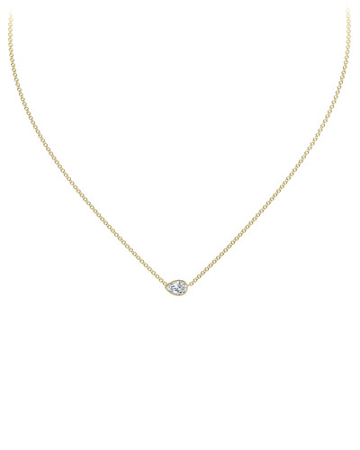18k Gold Diamond Pear Pendant Necklace