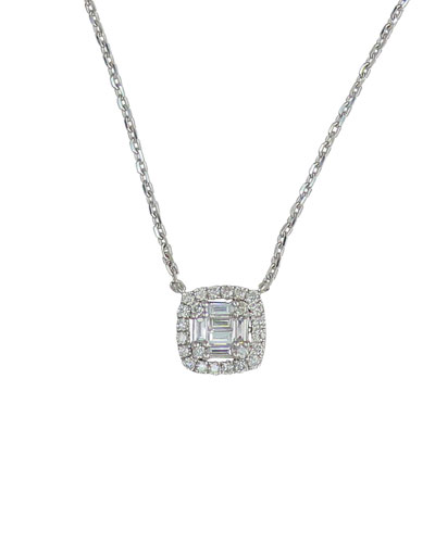 18k White Gold Diamond Cushion Pendant