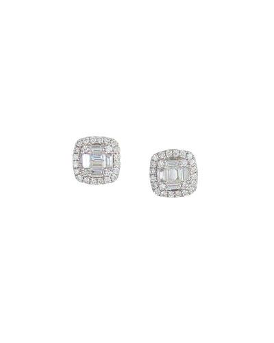 18k White Gold Diamond Cushion Earrings