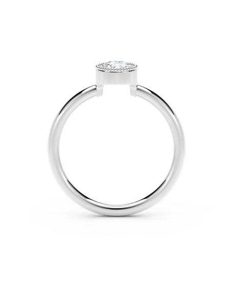 Forevermark 18K White Gold Beaded Diamond Ring, Size 7
