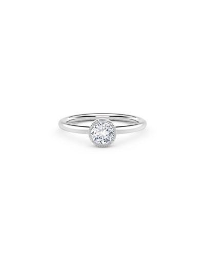 18K White Gold Beaded Diamond Ring  Size 7