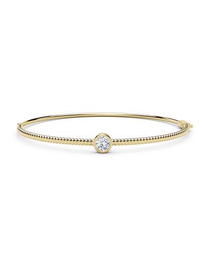 18K Yellow Gold Beaded Diamond Bangle Bracelet