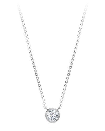18K White Gold Beaded Diamond Pendant Necklace