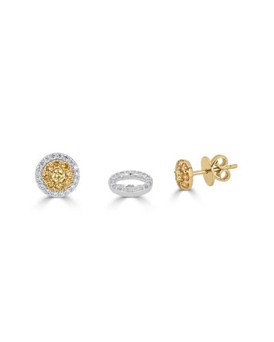 Limoncello 18k Two-Tone Gold & Diamond Stud Earrings