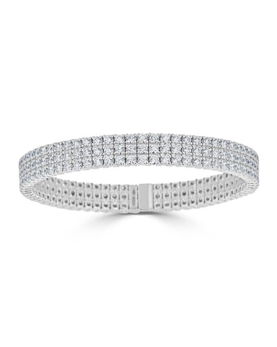 Diamond 3-Row Stretch Bracelet in 18k White Gold