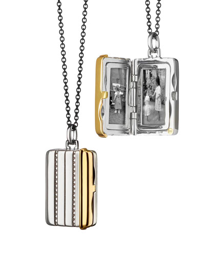Silver & 18k Yellow Gold Rectangle Locket Necklace  32