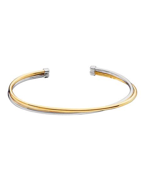 MONICA RICH KOSANN Silver & 18K Yellow Gold Flex 2-Row Cuff Bracelet