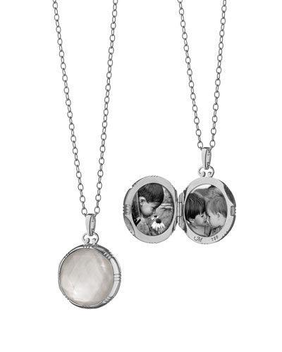 18k White Crystal Mother-of-Pearl Locket Necklace