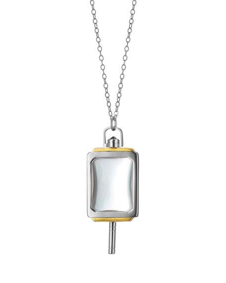 """MONICA RICH KOSANN Silver & 18K Yellow Gold Rectangle Pocket Watch Key Pendant Necklace, 32"""""""