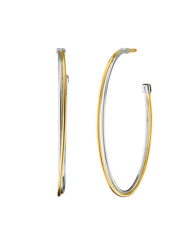 Silver & 18k Yellow Gold Tube Hoop Earrings  1mm