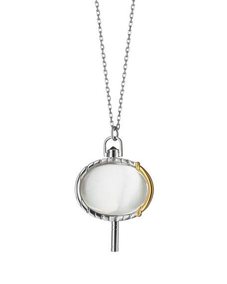 """MONICA RICH KOSANN Silver & 18K Yellow Gold Pinstripe Pocket Watch Key Pendant Necklace, 36"""""""