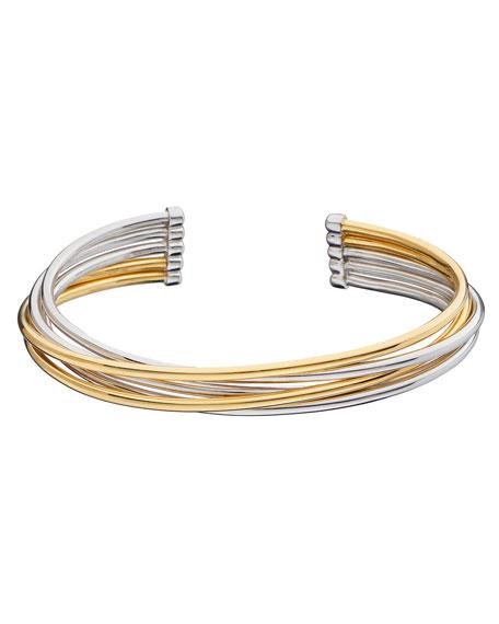 MONICA RICH KOSANN Silver & 18K Yellow Gold Flex 5-Row Cuff Bracelet