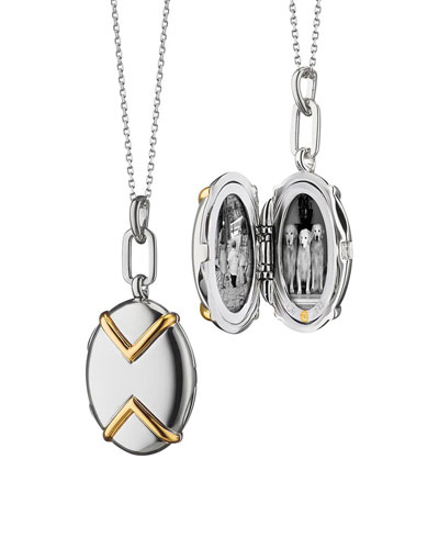 Two-Tone Silver & 18k Yellow Gold Chevron Oval Locket Necklace, 17