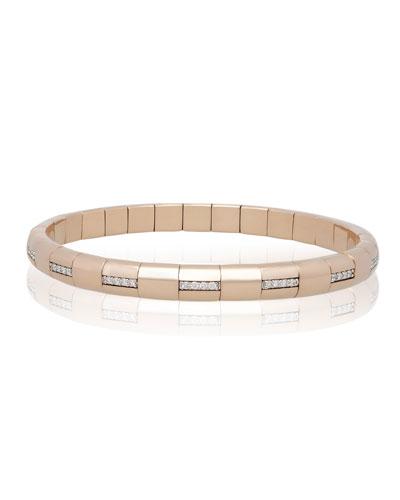 PURA GOLD 18k Rose Gold Woven Diamond Bar Bracelet