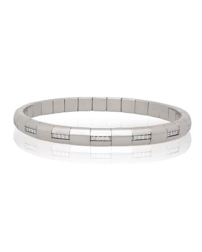 PURA GOLD 18k White Gold Woven Diamond Bar Bracelet
