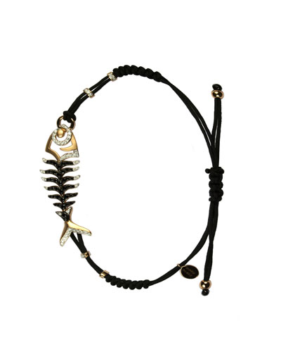 Pull-Cord Bracelet with Black & White Diamond Fishbone Station