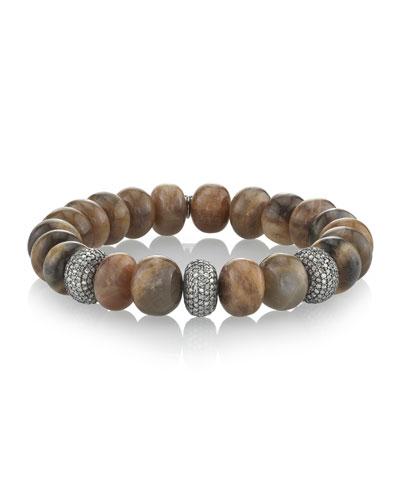 Sunstone & Diamond Donut Bracelet