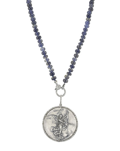 Knotted Iolite & Angel Coin Pendant Necklace