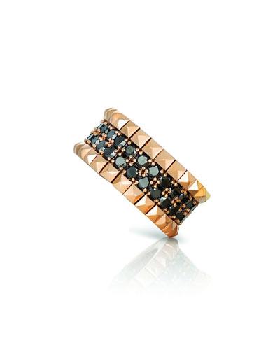 18k Rose Gold Black Diamond & Stud Ring