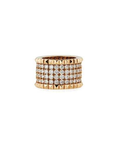 18k Rose Gold Diamond & Stud Ring, Size 6.5