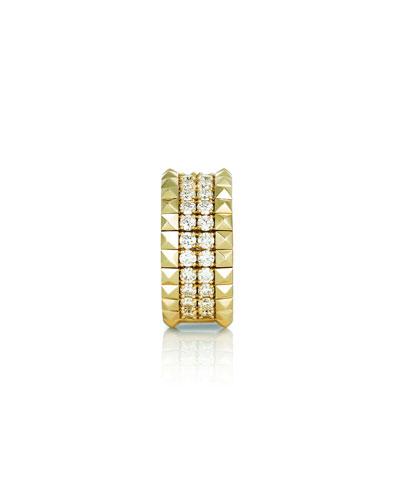 18k Gold Diamond & Stud Ring