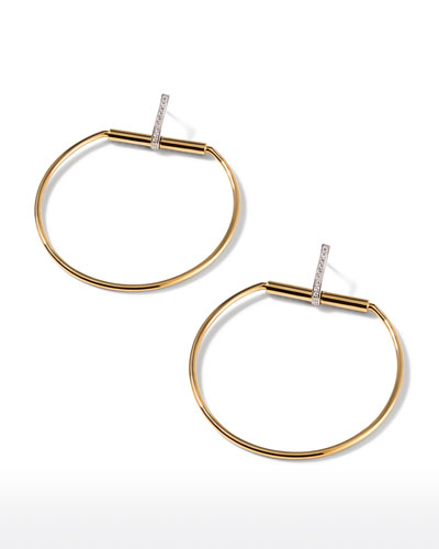 Classic Parisienne 18k Gold & Diamond Hoop Earrings