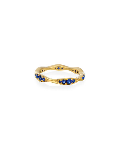 18k Gold Blue Sapphire Narrow Wave Ring