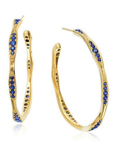18k Gold Blue Sapphire Wave Hoop Earrings, 1.5