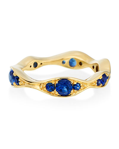 18k Gold Blue Sapphire Wide Wave Ring