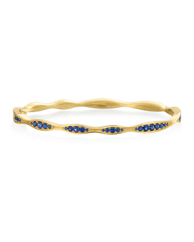 18k Gold Blue Sapphire Wave Hinged Bangle