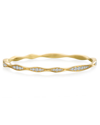 18k Gold Half Diamond Wave Bangle