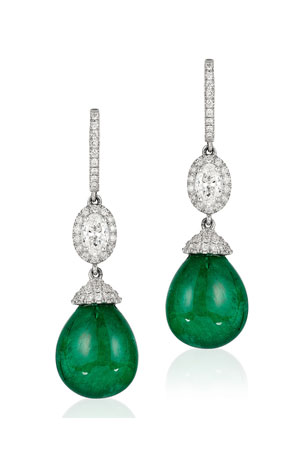 Andreoli 18k White Gold, Emerald & Diamond Drop Earrings