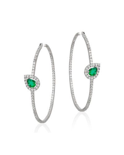 18k White Gold  Emerald & Diamond Hoop Earrings