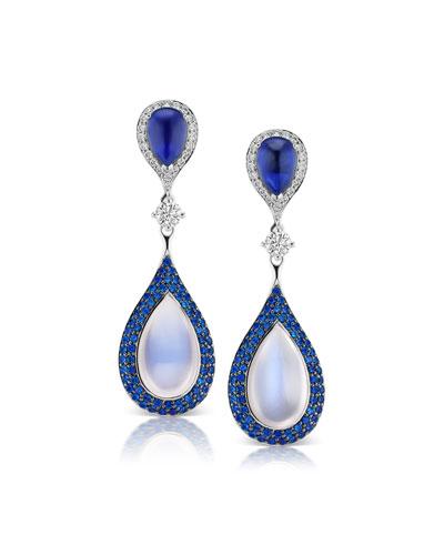 18k White Gold Diamond, Sapphire & Moonstone Earrings