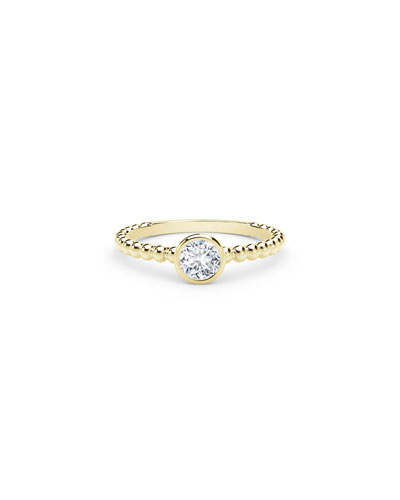 18K Yellow Gold Beaded-Shank Round Diamond Ring  Size 6.5