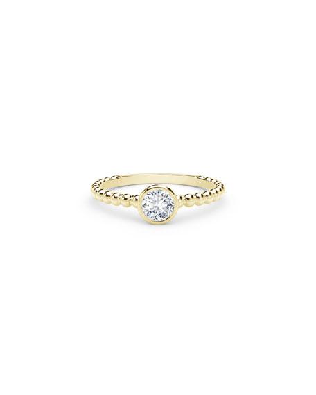 Forevermark 18K Yellow Gold Beaded-Shank Round Diamond Ring, Size 6.5